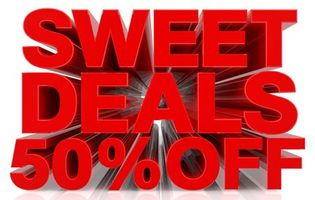 sweet deals 50 % off on white background 3d rendering