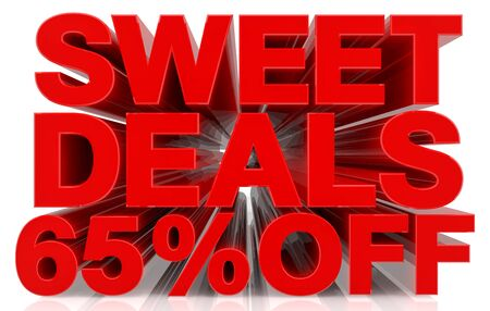 sweet deals 65 % off on white background 3d rendering