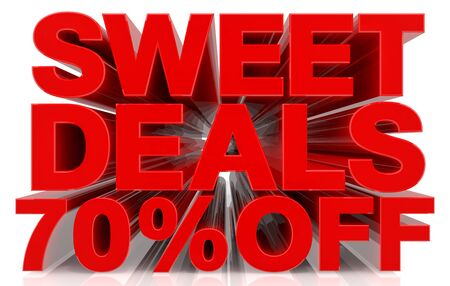 sweet deals 70 % off on white background 3d rendering