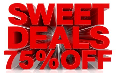 sweet deals 75 % off on white background 3d rendering