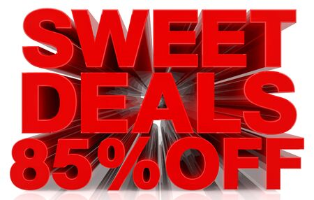 sweet deals 85 % off on white background 3d rendering Фото со стока
