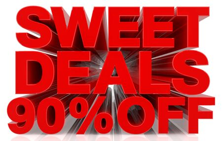 sweet deals 90 % off on white background 3d rendering Фото со стока