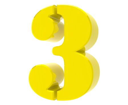 3d yellow number 3 on white background 3d rendering
