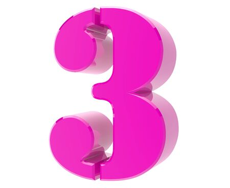 3d pink number 3 on white background 3d rendering