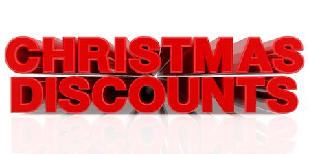 CHRISTMAS DISCOUNTS word on white background 3d rendering