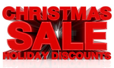 CHRISTMAS SALE HOLIDAY DISCOUNTS word on white background 3d rendering