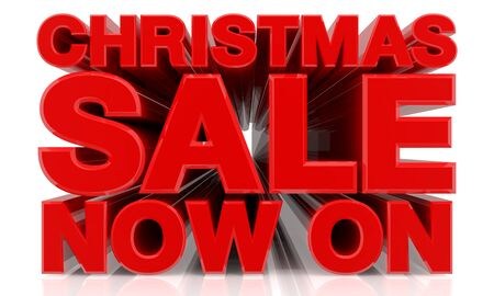 CHRISTMAS SALE NOW ON word on white background 3d rendering Standard-Bild - 131483349