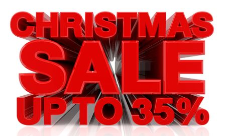 CHRISTMAS SALE UP TO 35 % word on white background 3d rendering Stok Fotoğraf