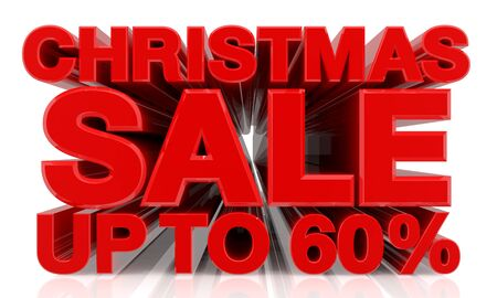 CHRISTMAS SALE UP TO 60 % word on white background 3d rendering Stok Fotoğraf
