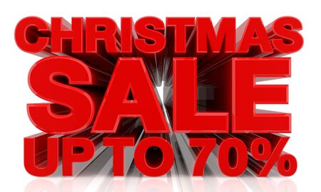 CHRISTMAS SALE UP TO 70 % word on white background 3d rendering Stok Fotoğraf
