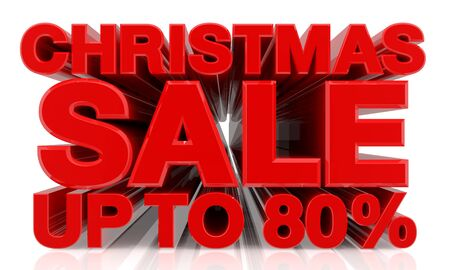CHRISTMAS SALE UP TO 80 % word on white background 3d rendering