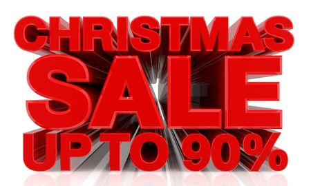 CHRISTMAS SALE UP TO 90 % word on white background 3d rendering Standard-Bild - 131483410
