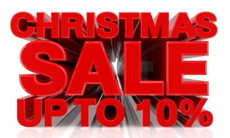 CHRISTMAS SALE UP TO 10 % word on white background 3d rendering Standard-Bild - 131483568