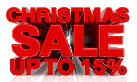 CHRISTMAS SALE UP TO 15 % word on white background 3d rendering Zdjęcie Seryjne