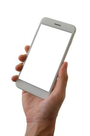 Mężczyzna ręka trzyma smartfona z pustym ekranem na białym tle