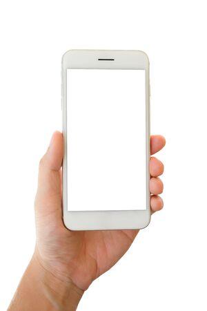 Mężczyzna ręka trzyma smartfona z pustym ekranem na białym tle Zdjęcie Seryjne