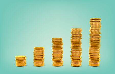 Growing graph of gold coins, business and finance concept, 3D rendering