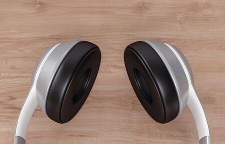 Headphones on wood background, 3d rendering