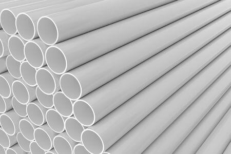 Tubes PVC pipes background, 3D rendering Stok Fotoğraf