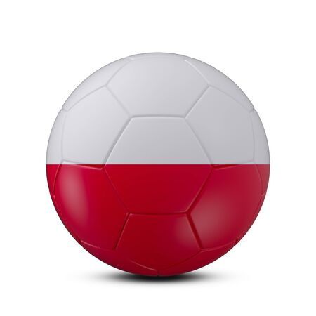 Soccer ball with flag of Poland isolated with clipping path on white background, 3d rendering