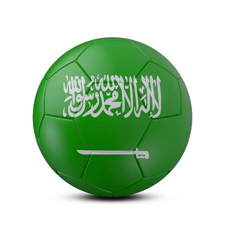 Soccer ball with flag of Saudi Arabia isolated with clipping path on white background, 3d rendering