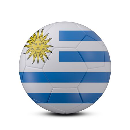 Soccer ball with flag of Uruguay isolated with clipping path on white background, 3d rendering