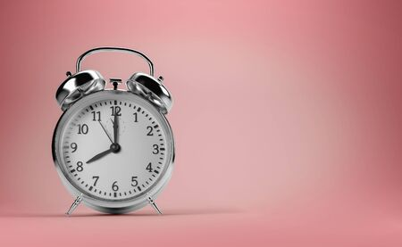Alarm clock with copy space on pink background, 3d illustration Stock Photo