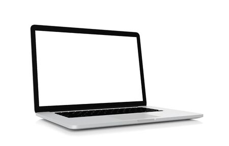 Laptop with blank screen isolated on white background, clipping path, 3d rendering