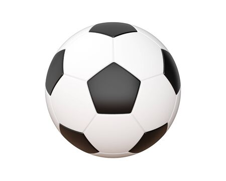 Soccer ball isolated with clipping path on white background, 3d rendering Stock Photo