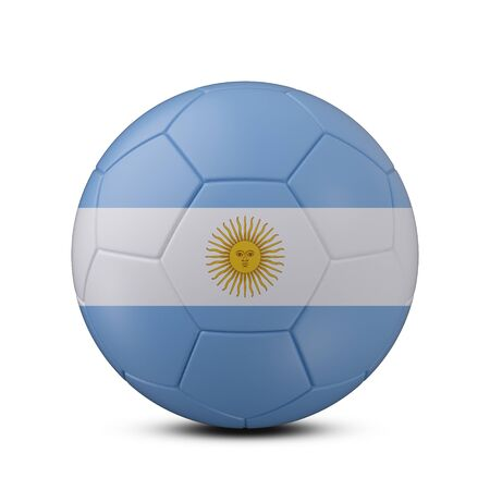 Soccer ball with flag of Argentina isolated with clipping path on white background, 3d rendering Banco de Imagens