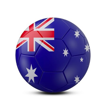 Soccer ball with flag of Australia isolated with clipping path on white background, 3d rendering Banco de Imagens