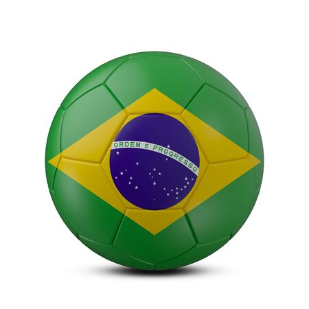 Soccer ball with flag of Brazil isolated with clipping path on white background, 3d rendering