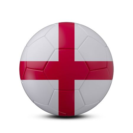 Soccer ball with flag of England isolated with clipping path on white background, 3d rendering Banco de Imagens