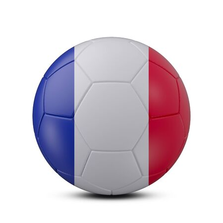 Soccer ball with flag of France isolated with clipping path on white background, 3d rendering
