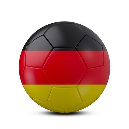 Soccer ball with flag of Germany isolated with clipping path on white background, 3d rendering