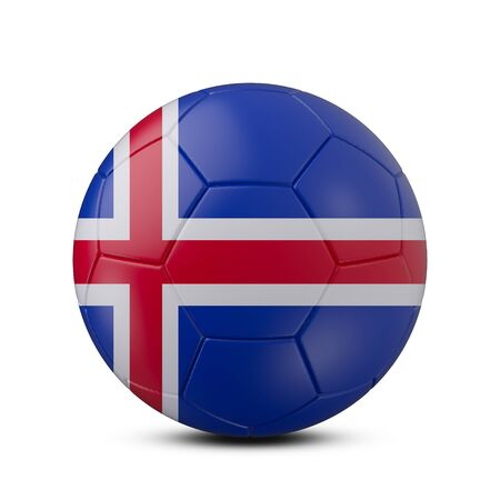Soccer ball with flag of Iceland isolated with clipping path on white background, 3d rendering Banco de Imagens