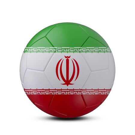 Soccer ball with flag of Iran isolated with clipping path on white background, 3d rendering
