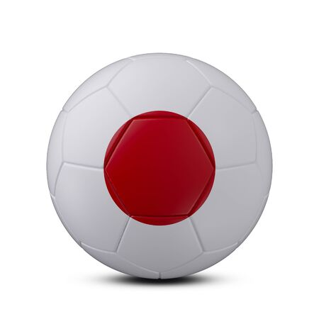 Soccer ball with flag of Japan isolated with clipping path on white background, 3d rendering