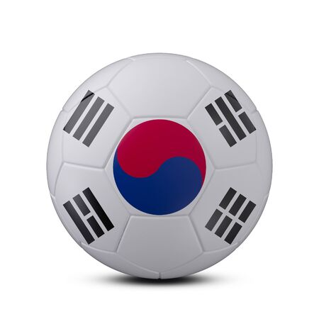 Soccer ball with flag of Korea Republic isolated with clipping path on white background, 3d rendering
