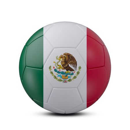 Soccer ball with flag of Mexico isolated with clipping path on white background, 3d rendering