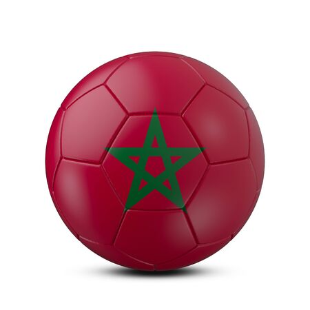 Soccer ball with flag of Morocco isolated with clipping path on white background, 3d rendering Banco de Imagens