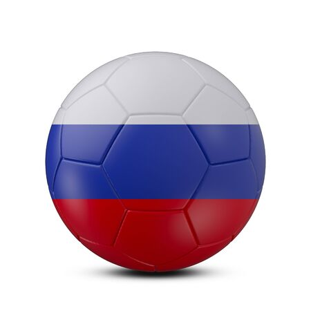 Soccer ball with flag of Russia isolated with clipping path on white background, 3d rendering