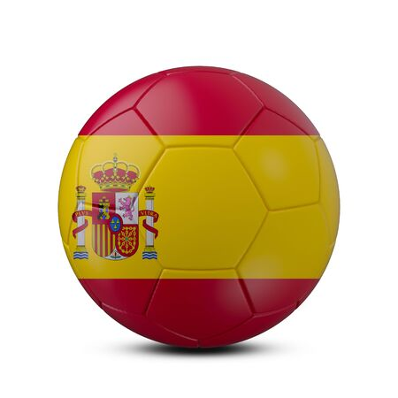 Soccer ball with flag of Spain isolated with clipping path on white background, 3d rendering