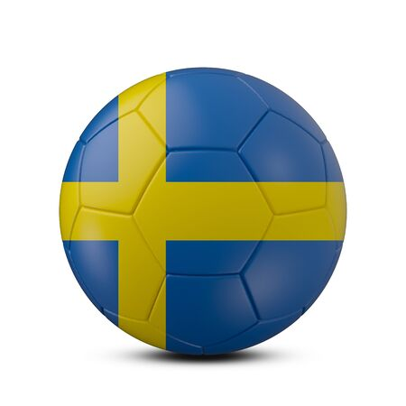 Soccer ball with flag of Sweden isolated on white background, 3d rendering