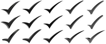 Black correct mark symbol collection on white background 写真素材