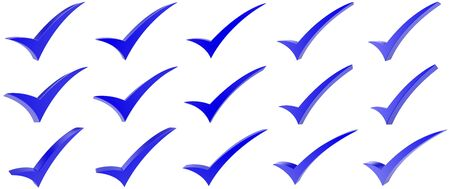Blue correct mark symbol collection on white background 写真素材