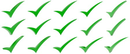 Green correct mark symbol collection on white background