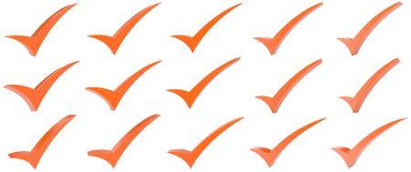 Orange correct mark symbol collection on white background 写真素材