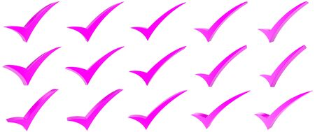 Pink correct mark symbol collection on white background