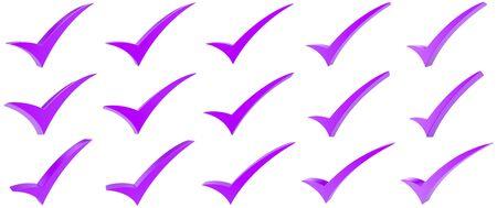Purple correct mark symbol collection on white background